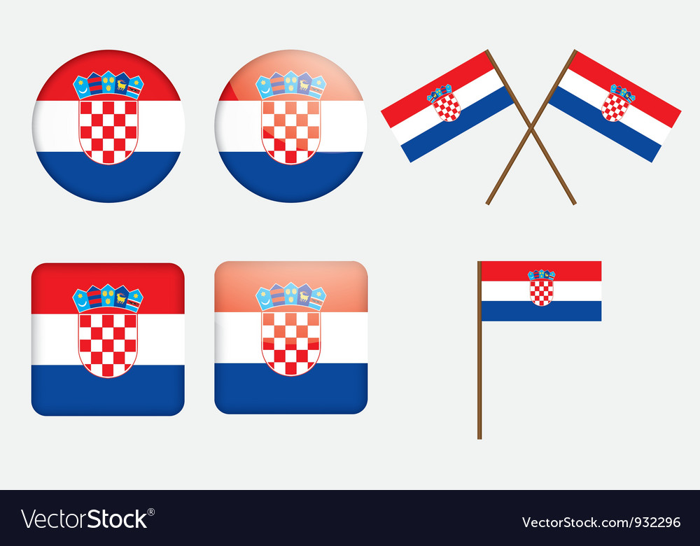 Badges with flag of croatia vector | Price: 1 Credit (USD $1)