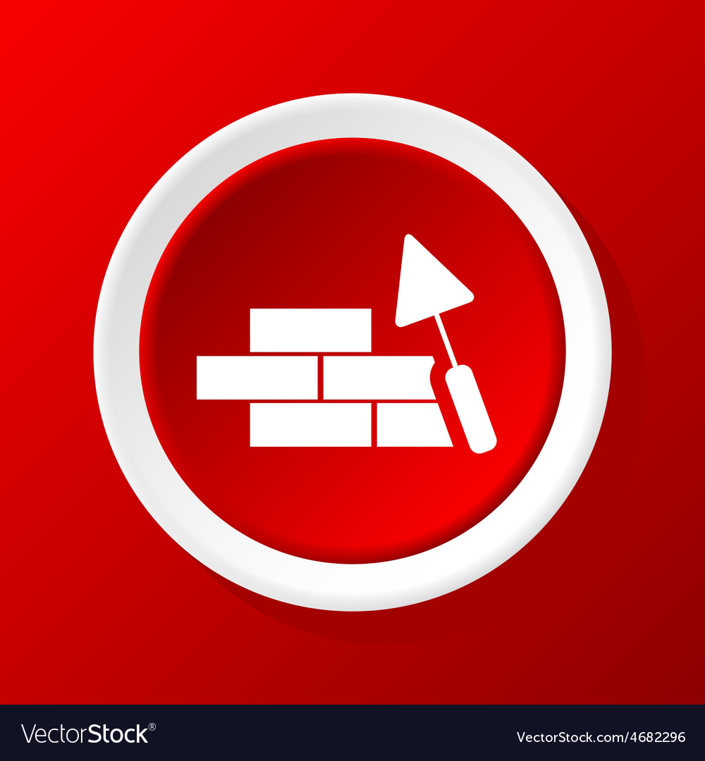 Building wall icon on red vector | Price: 1 Credit (USD $1)