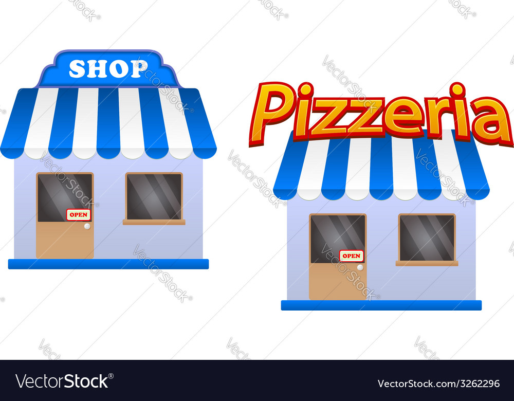 Cartoon store and pizzeria icons vector | Price: 1 Credit (USD $1)