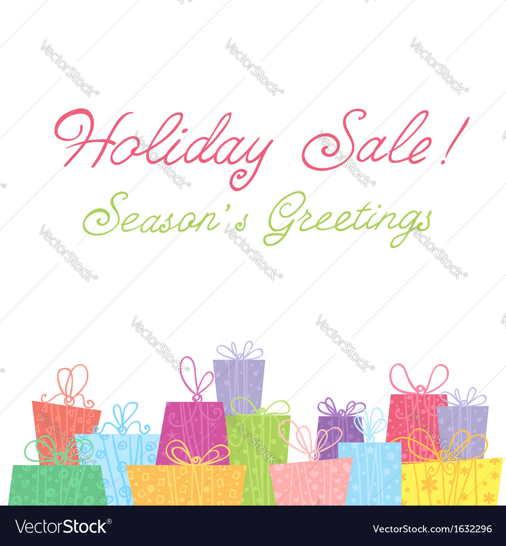 Colorful sale gift boxes celebration card vector | Price: 1 Credit (USD $1)