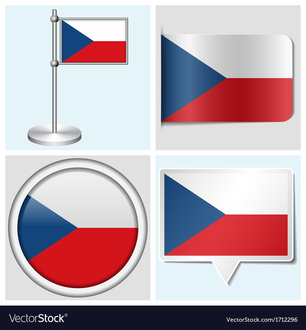 Czech flag - sticker button label flagstaff vector | Price: 1 Credit (USD $1)