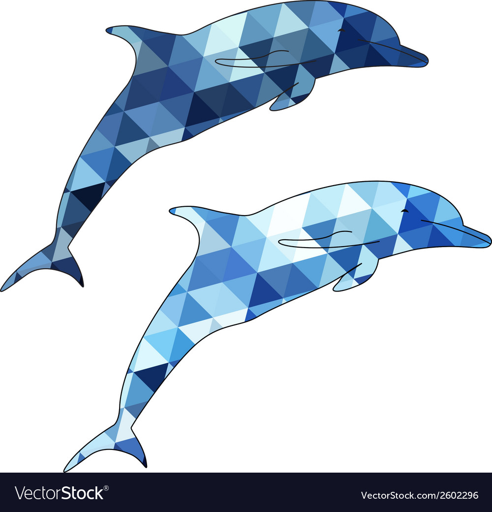 Dolphins silhouette isolated on white background vector | Price: 1 Credit (USD $1)