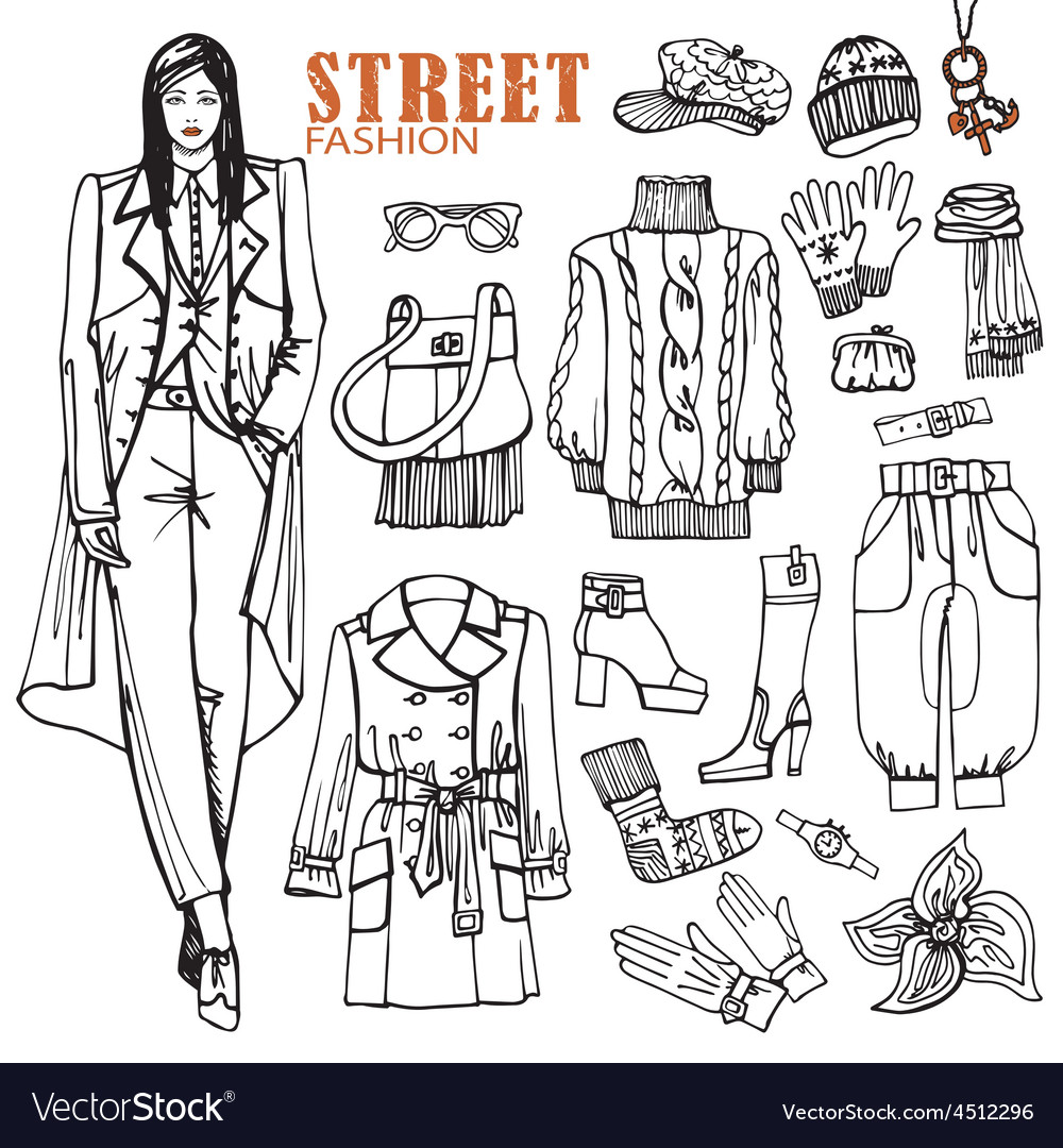 Fashion girl and street clothing setsketch style vector | Price: 1 Credit (USD $1)