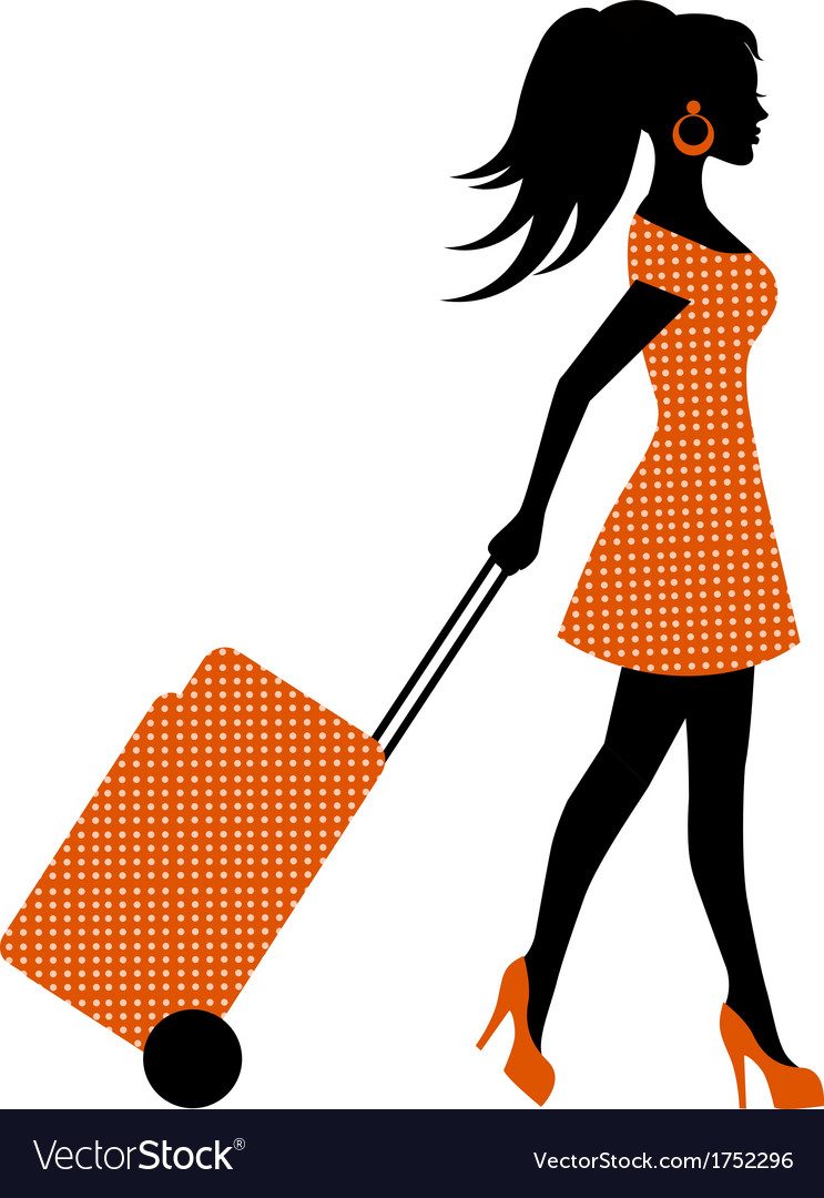 Female silhouette suitcase rolls vector | Price: 1 Credit (USD $1)