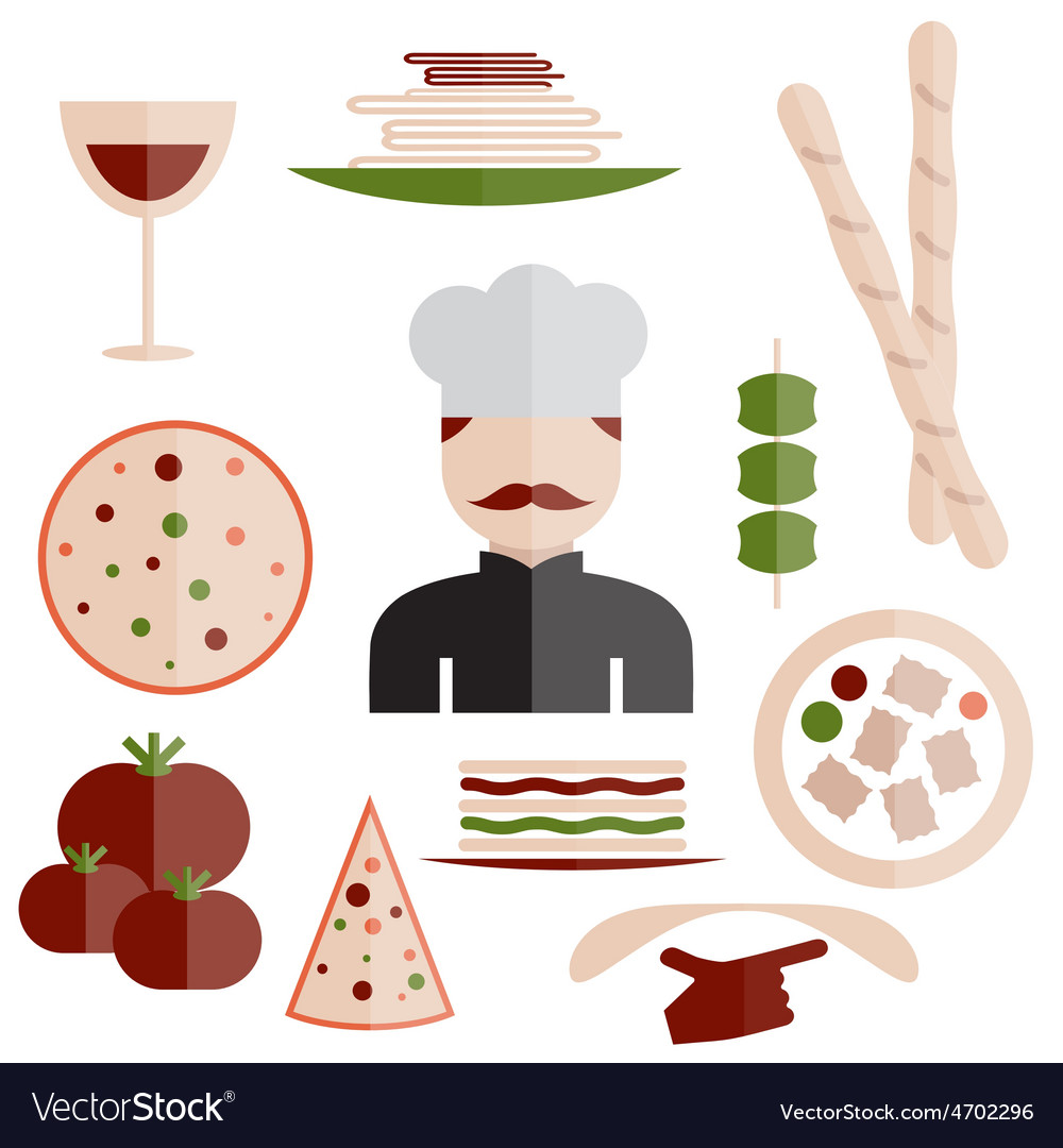 Flat design italian cuisine elements and chef vector | Price: 1 Credit (USD $1)