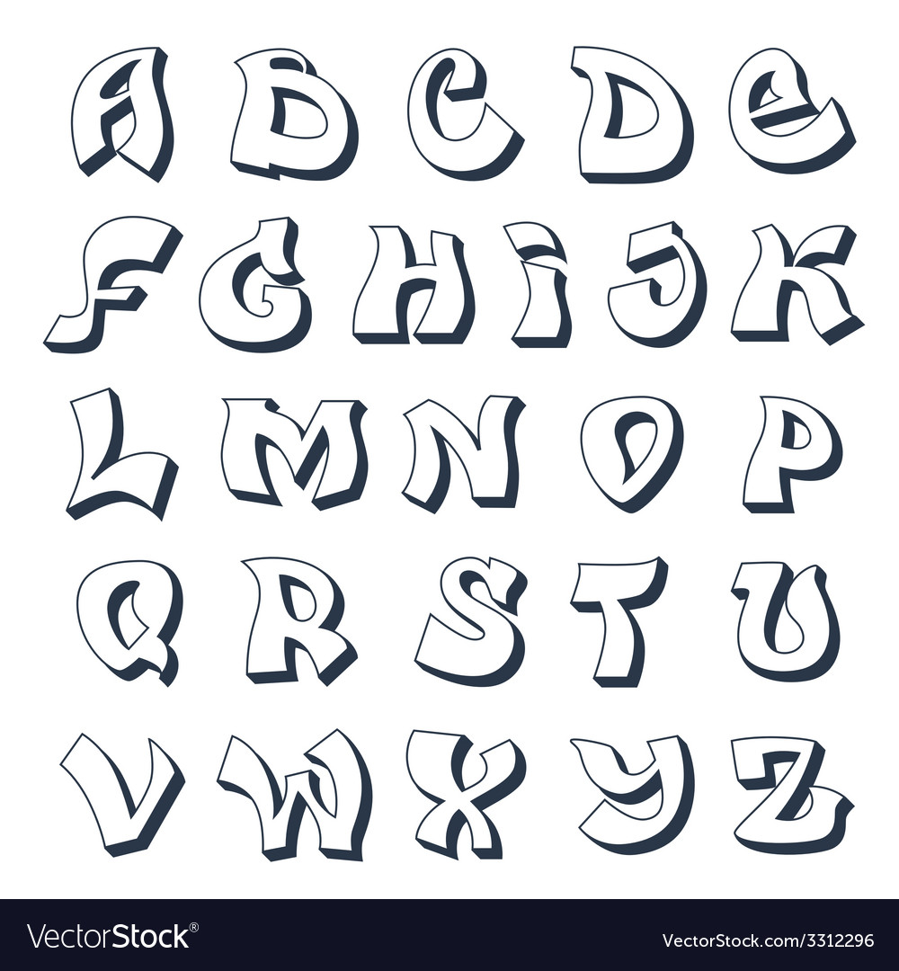 Graffiti alphabet white vector | Price: 1 Credit (USD $1)