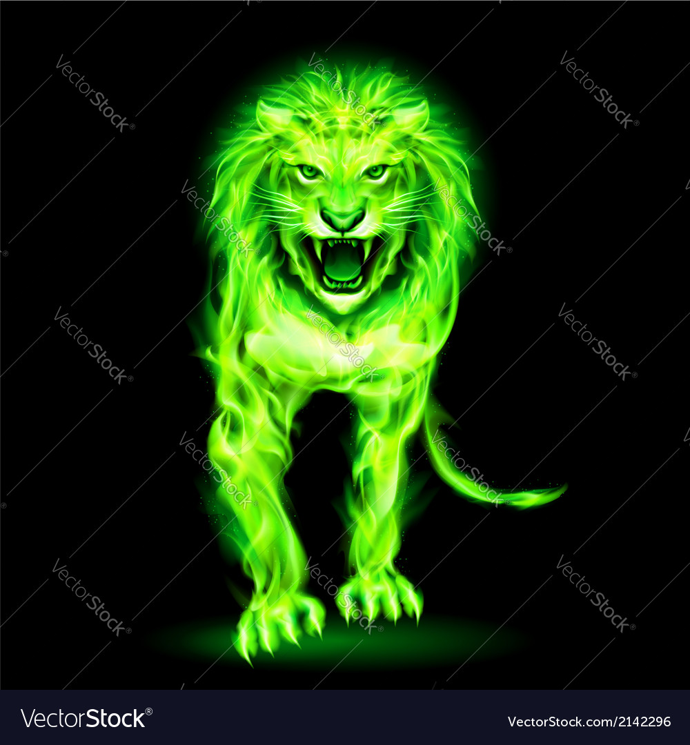 Green fire lion vector | Price: 1 Credit (USD $1)
