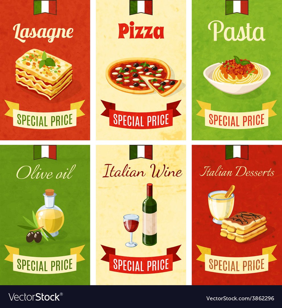 Italian food mini poster vector | Price: 1 Credit (USD $1)