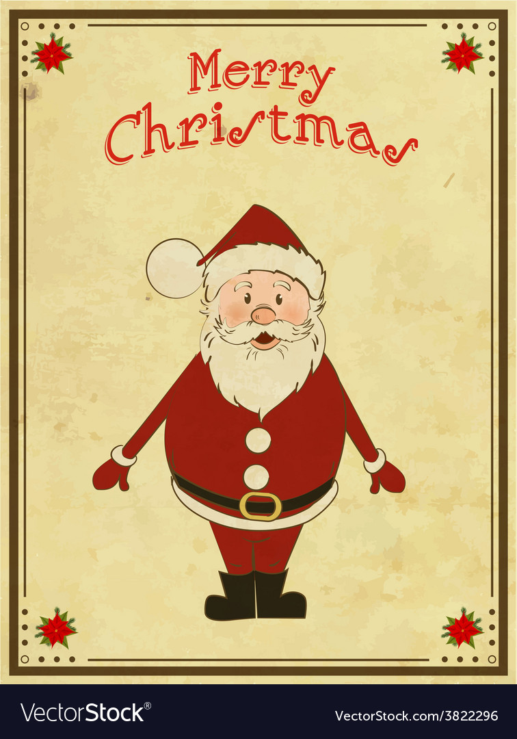 Merry christmas card with santa vector | Price: 1 Credit (USD $1)