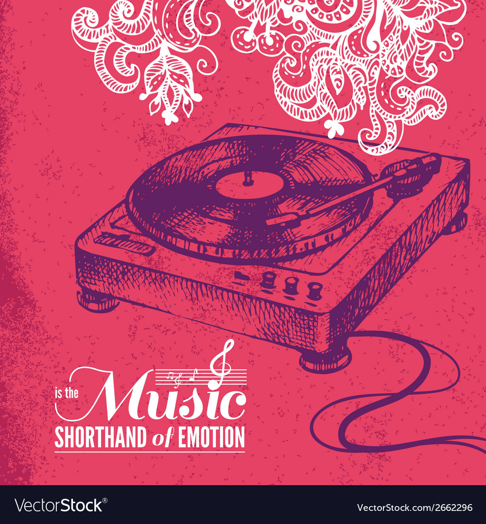 Music background hand drawn and typography design vector | Price: 1 Credit (USD $1)