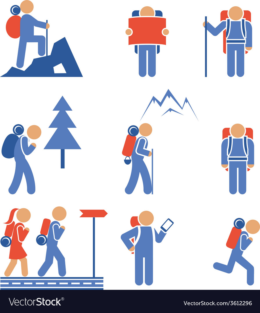 Set of colored hiking icons vector | Price: 1 Credit (USD $1)