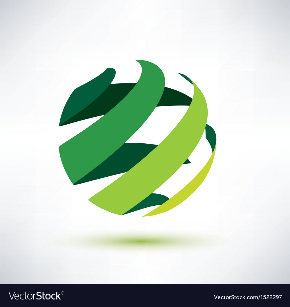 Abctract green globe icon ecology and nature conce vector | Price: 1 Credit (USD $1)