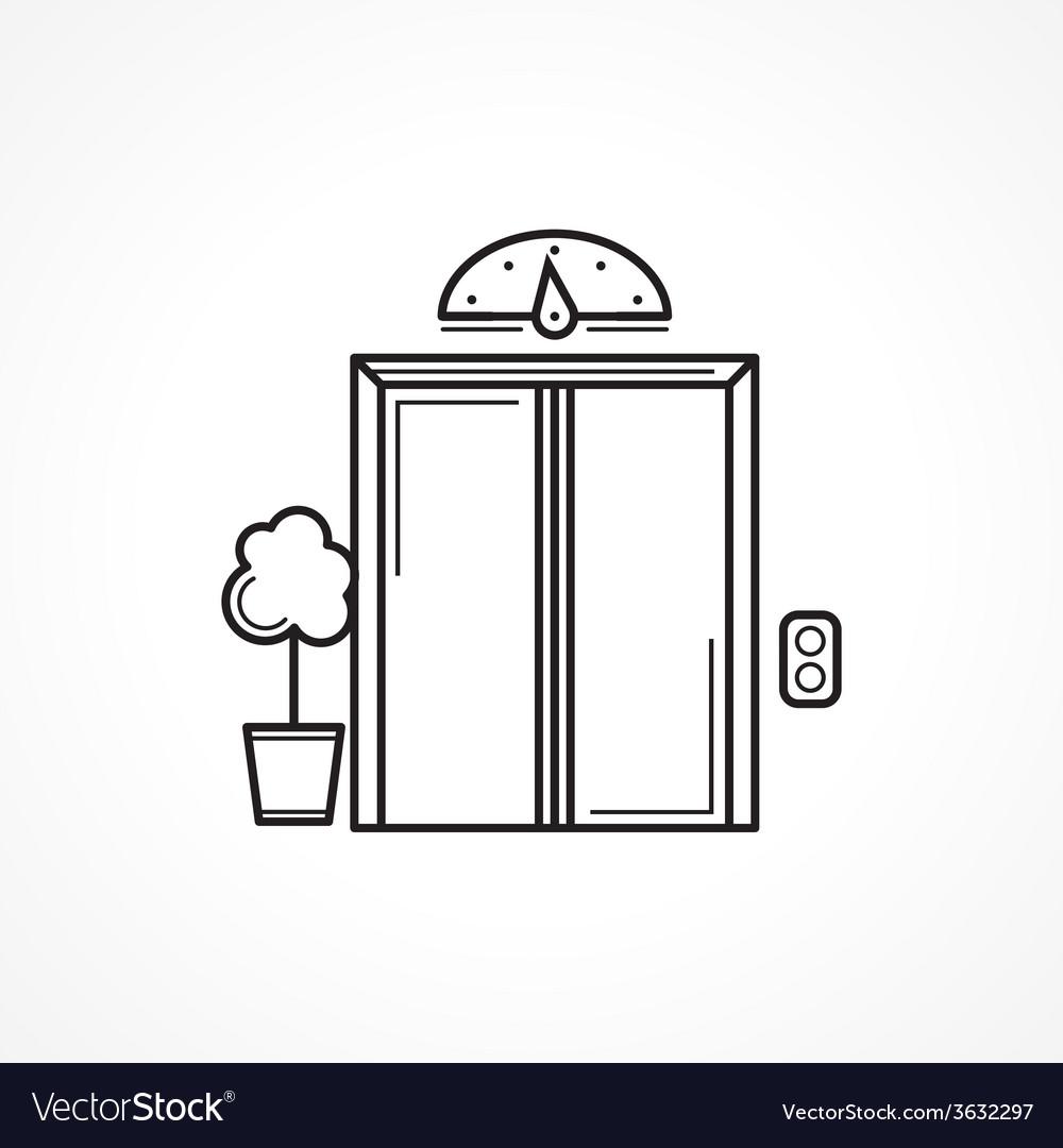 Closed elevator door black line icon vector | Price: 1 Credit (USD $1)