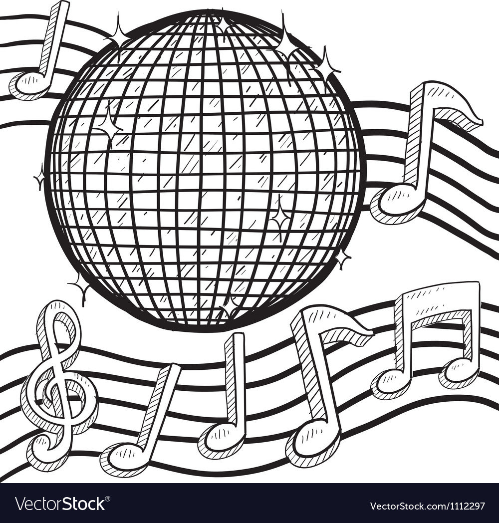 Doodle disco ball music vector | Price: 1 Credit (USD $1)