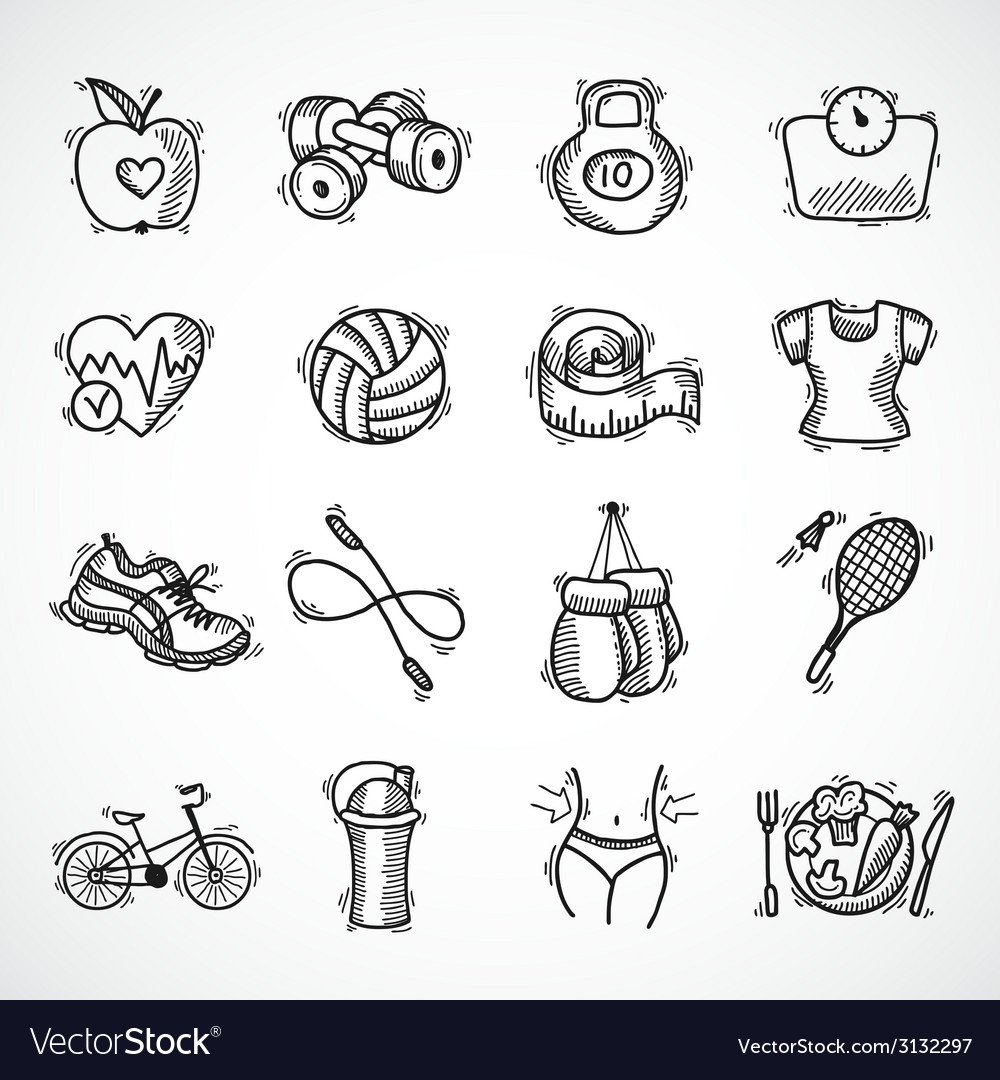 Fitness sketch icons set vector | Price: 1 Credit (USD $1)