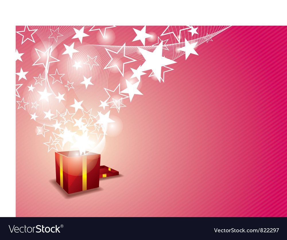 Gift box and star floating vector | Price: 1 Credit (USD $1)