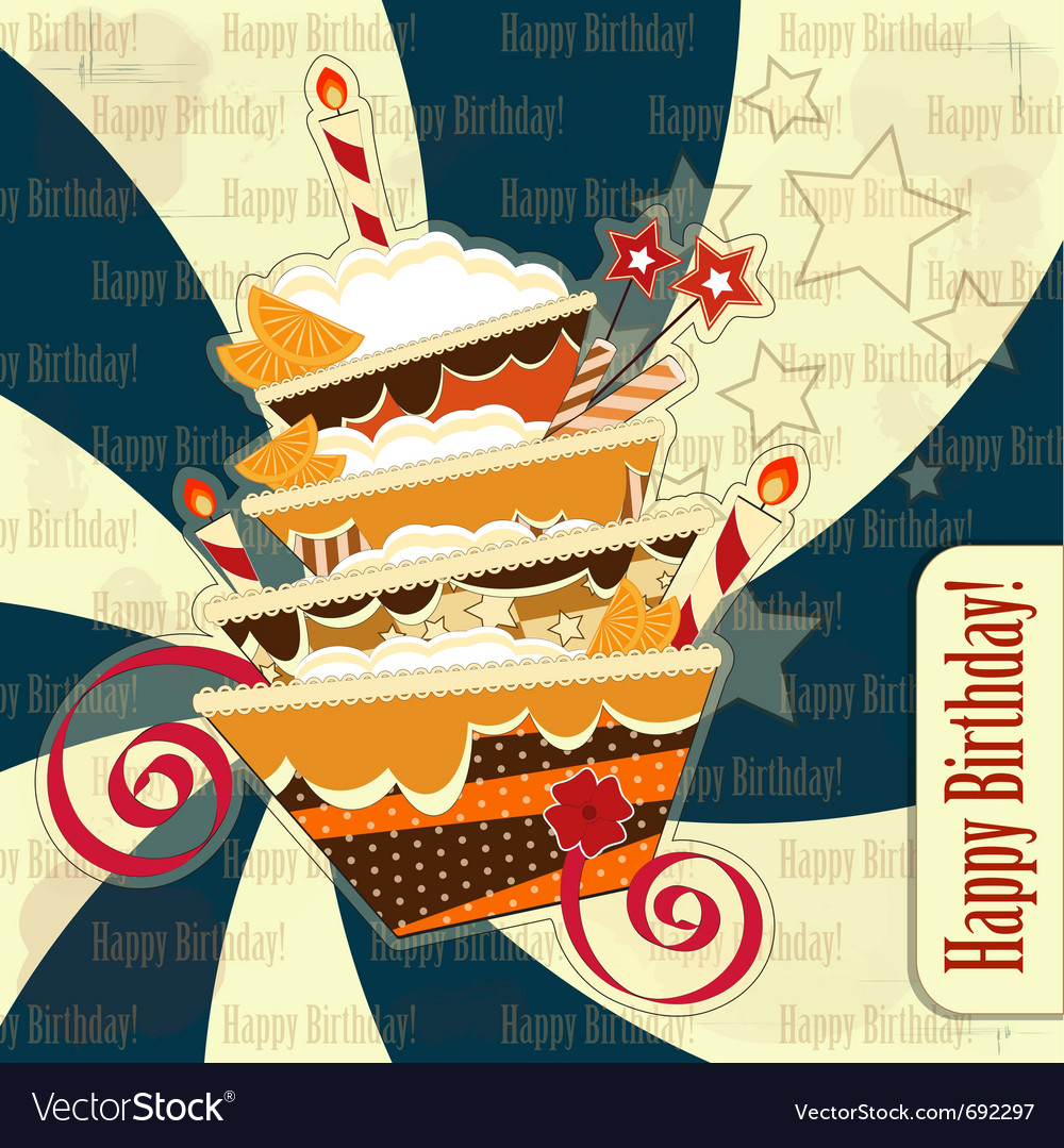 Happy birthday vintage vector | Price: 1 Credit (USD $1)