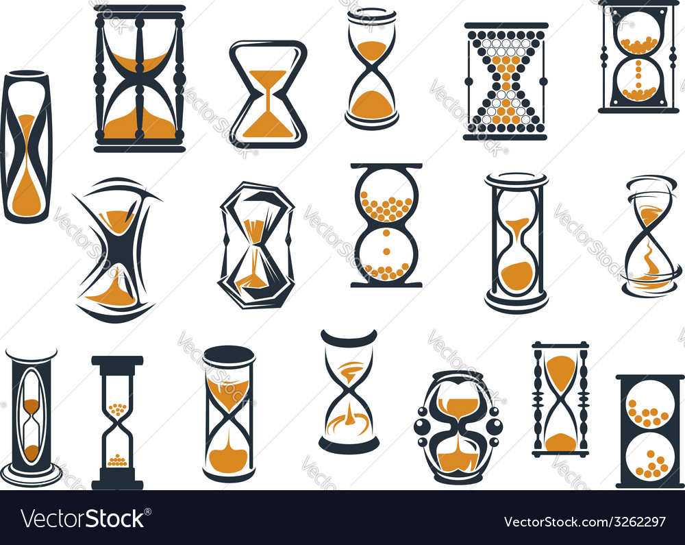 Hourglasses and egg timers set vector | Price: 1 Credit (USD $1)