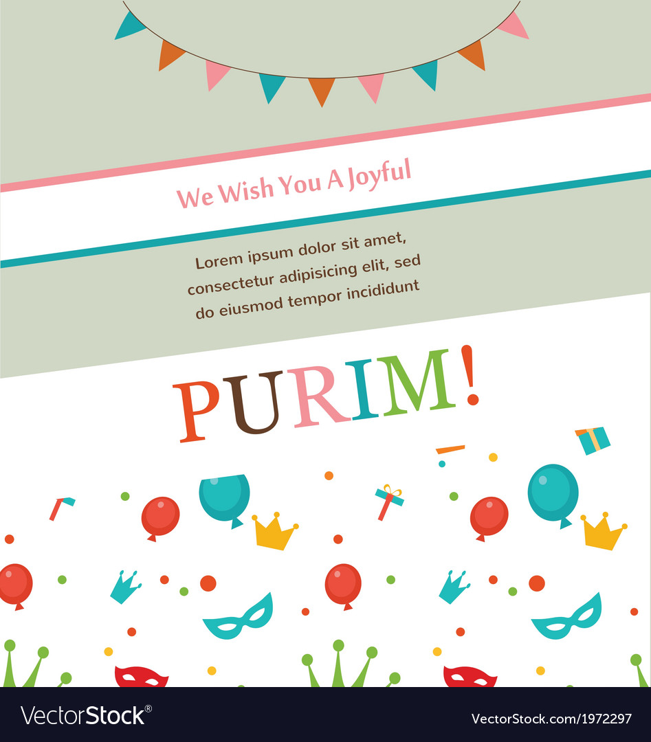 Jewish holiday purim hipster greeting card design vector | Price: 1 Credit (USD $1)