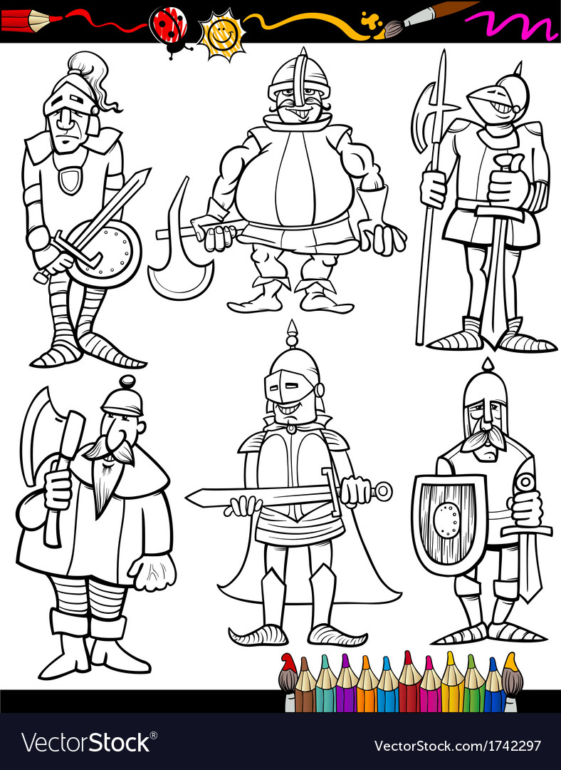 Knights cartoon set for coloring book vector | Price: 1 Credit (USD $1)