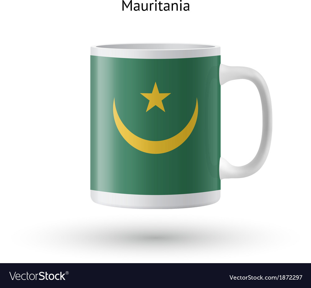 Mauritania flag souvenir mug on white background vector | Price: 1 Credit (USD $1)