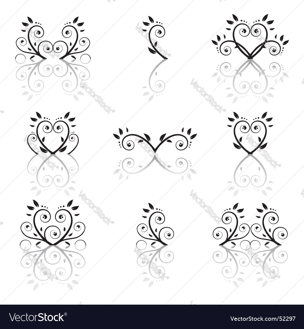 Set of floral ornament vector | Price: 1 Credit (USD $1)
