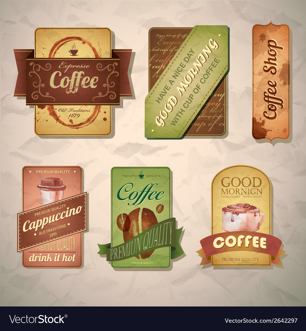 Set of vintage decorative coffee labels vector | Price: 3 Credit (USD $3)