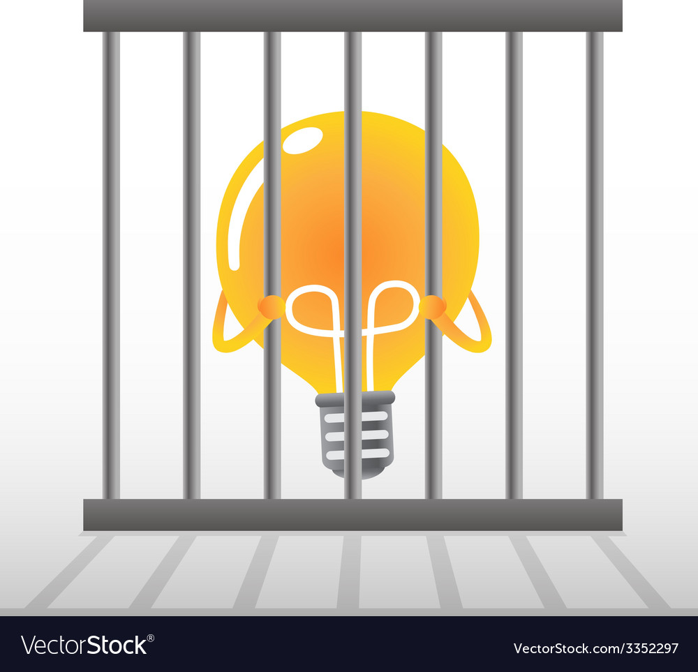 Yellow bulb in a cage vector | Price: 1 Credit (USD $1)