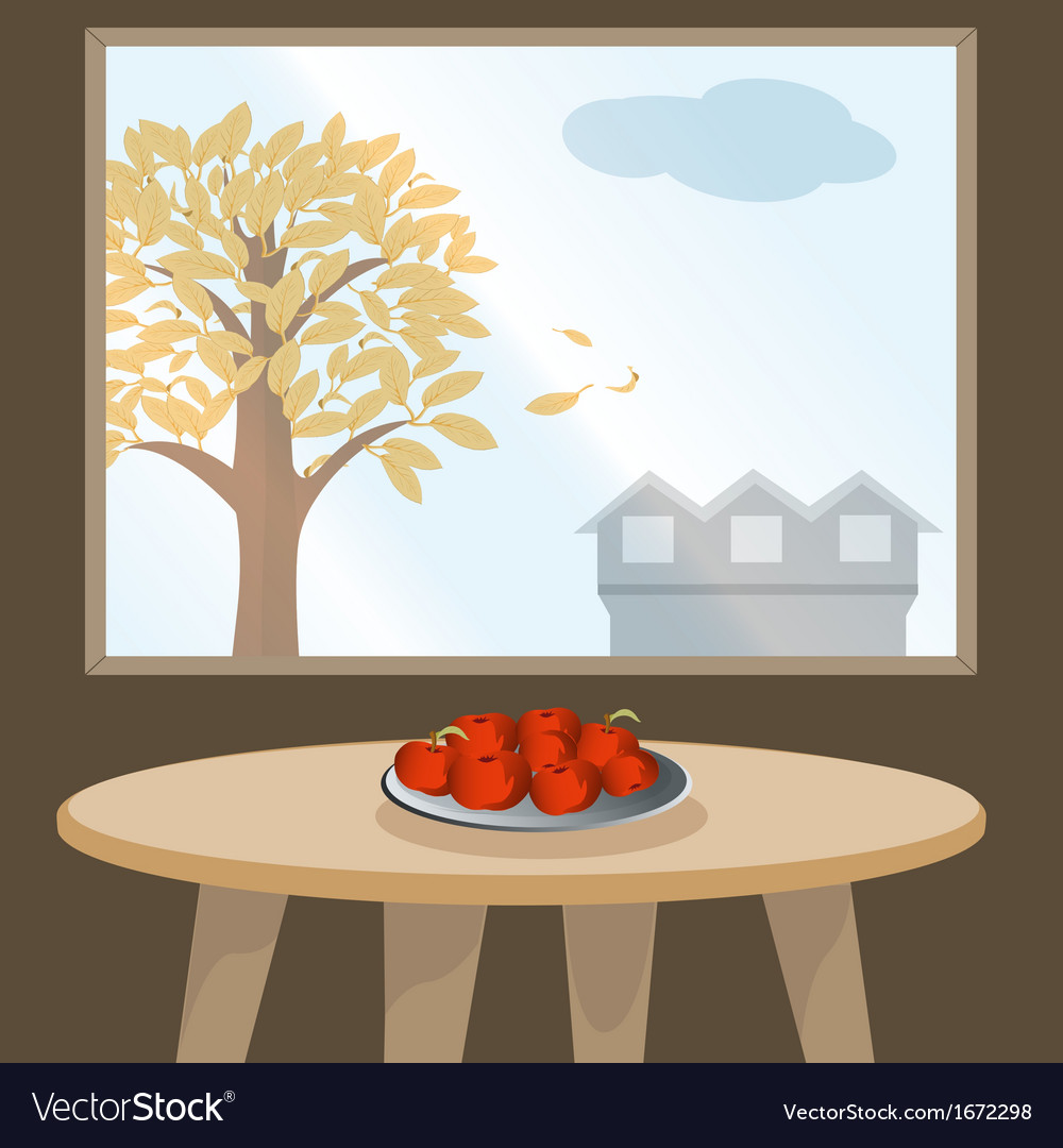 Apples on table by window vector | Price: 1 Credit (USD $1)