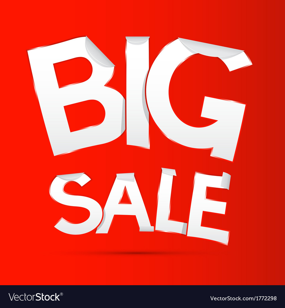 Big sale sticker - label on red background vector | Price: 1 Credit (USD $1)
