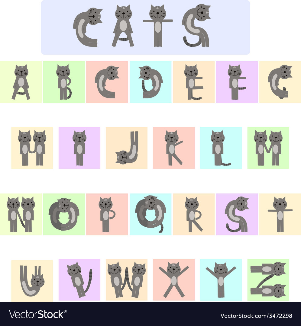 Cat alphabet vector | Price: 1 Credit (USD $1)