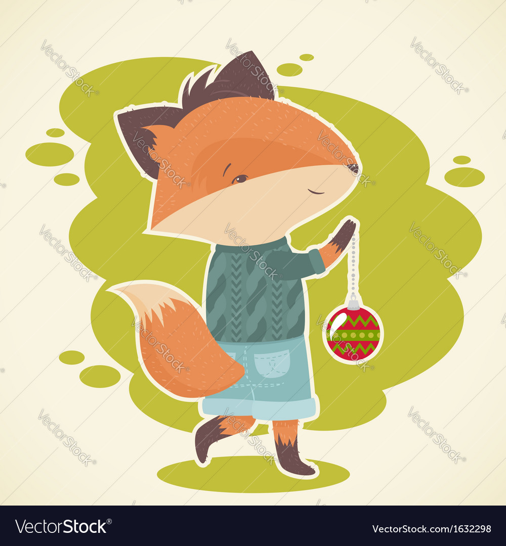 Cute cartoon fox character celebration card vector | Price: 1 Credit (USD $1)