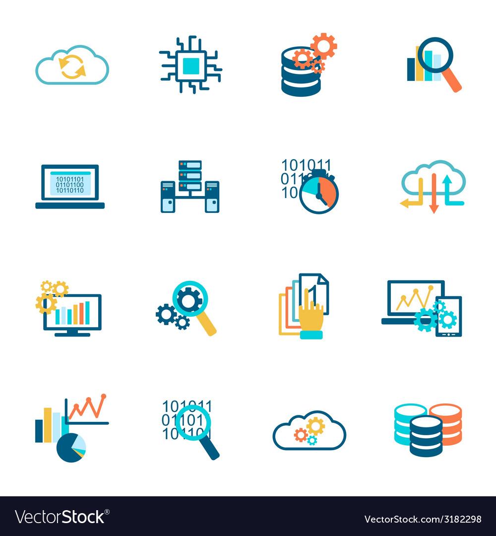 Database analytics icons flat vector   Price: 1 Credit (USD $1)