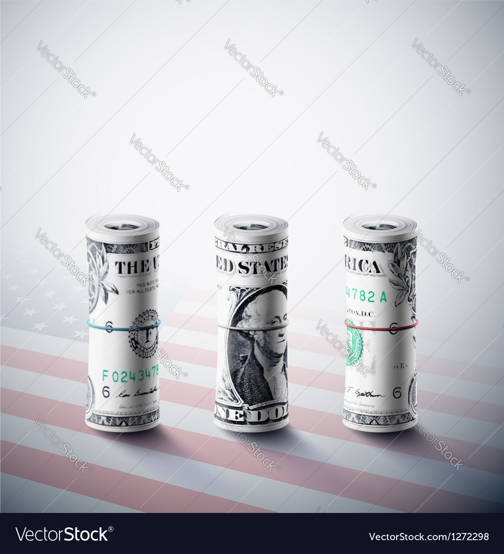 Dollars in roll vector | Price: 1 Credit (USD $1)