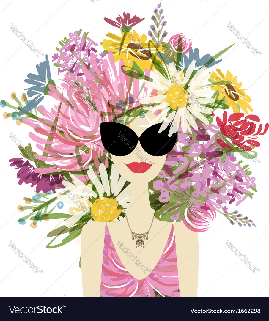 Female portrait with floral hairstyle for your vector | Price: 1 Credit (USD $1)