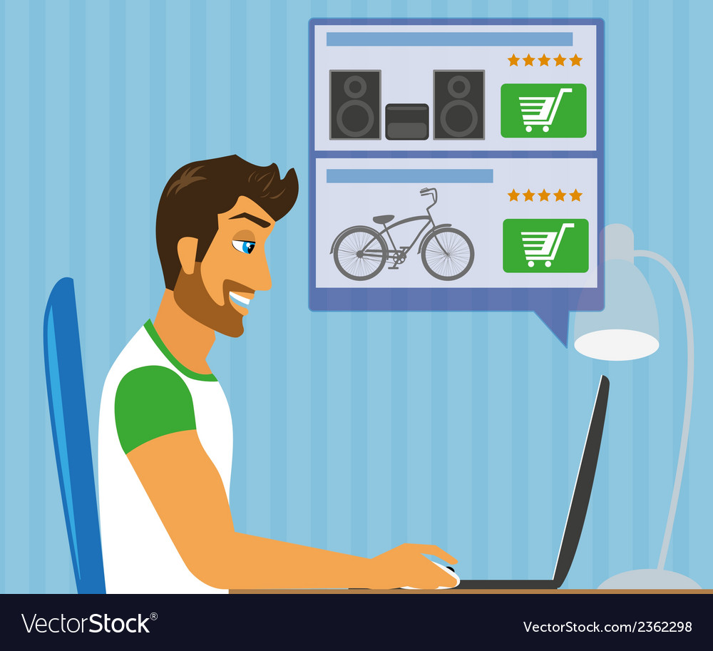 Handsome blackhair man sitting at home and doing vector | Price: 1 Credit (USD $1)