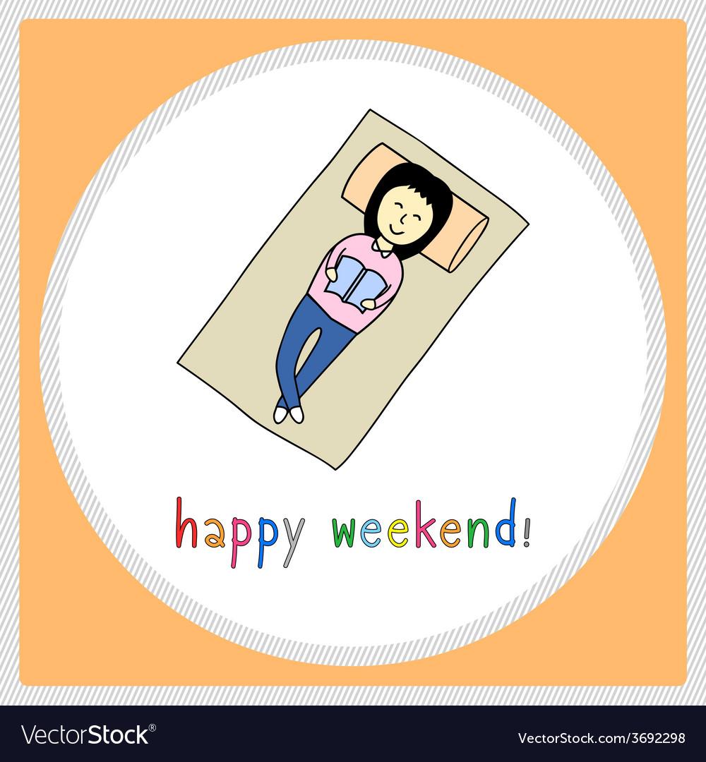Happy weekend girl1 vector | Price: 1 Credit (USD $1)