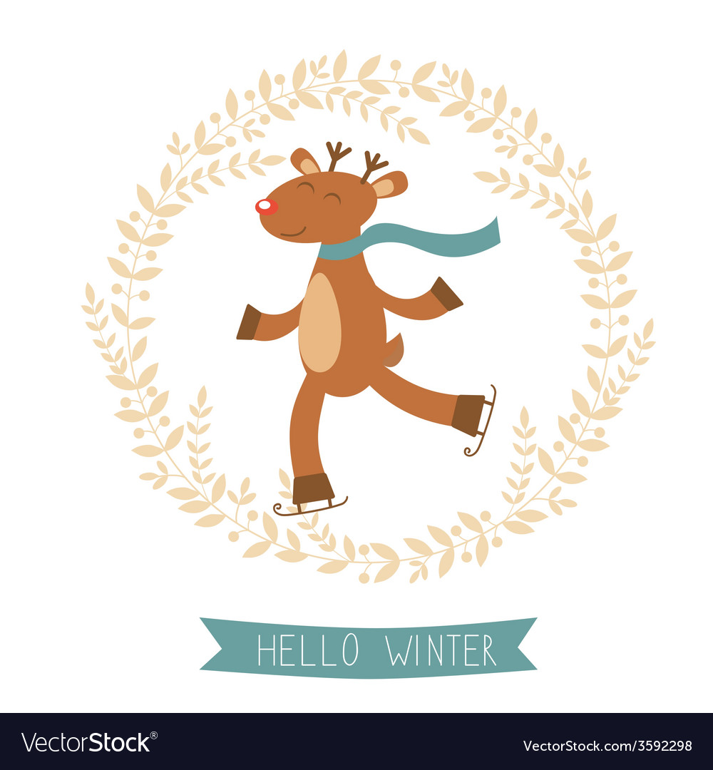 Hello winter card with cute deer boy ice skating vector | Price: 1 Credit (USD $1)