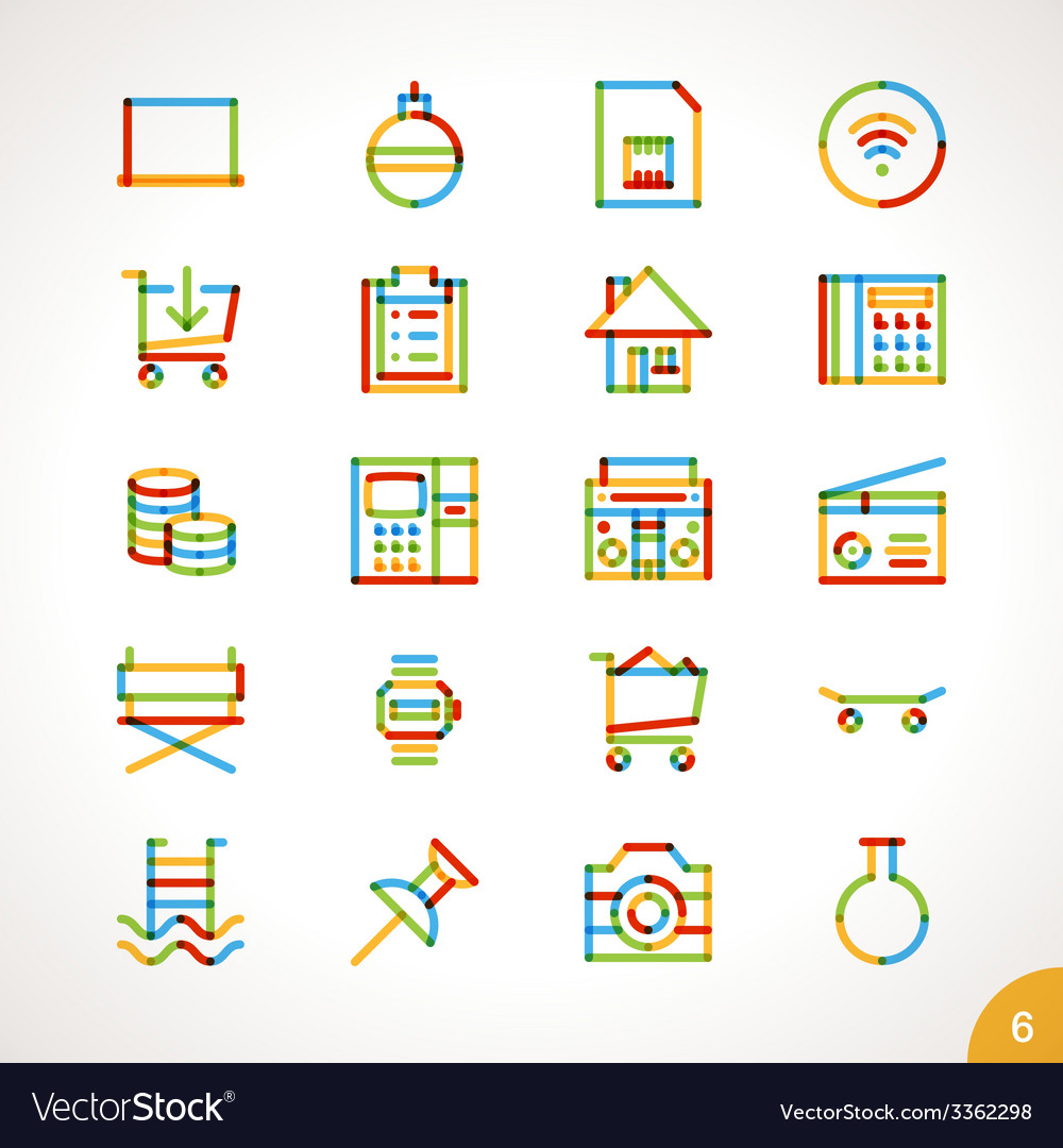 Highlighter line icons set 6 vector | Price: 1 Credit (USD $1)
