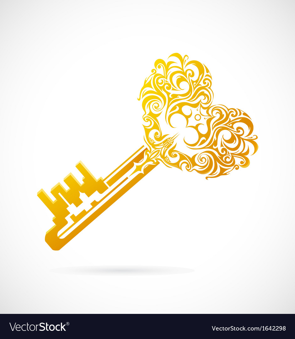 Key with heart shape vector   Price: 1 Credit (USD $1)