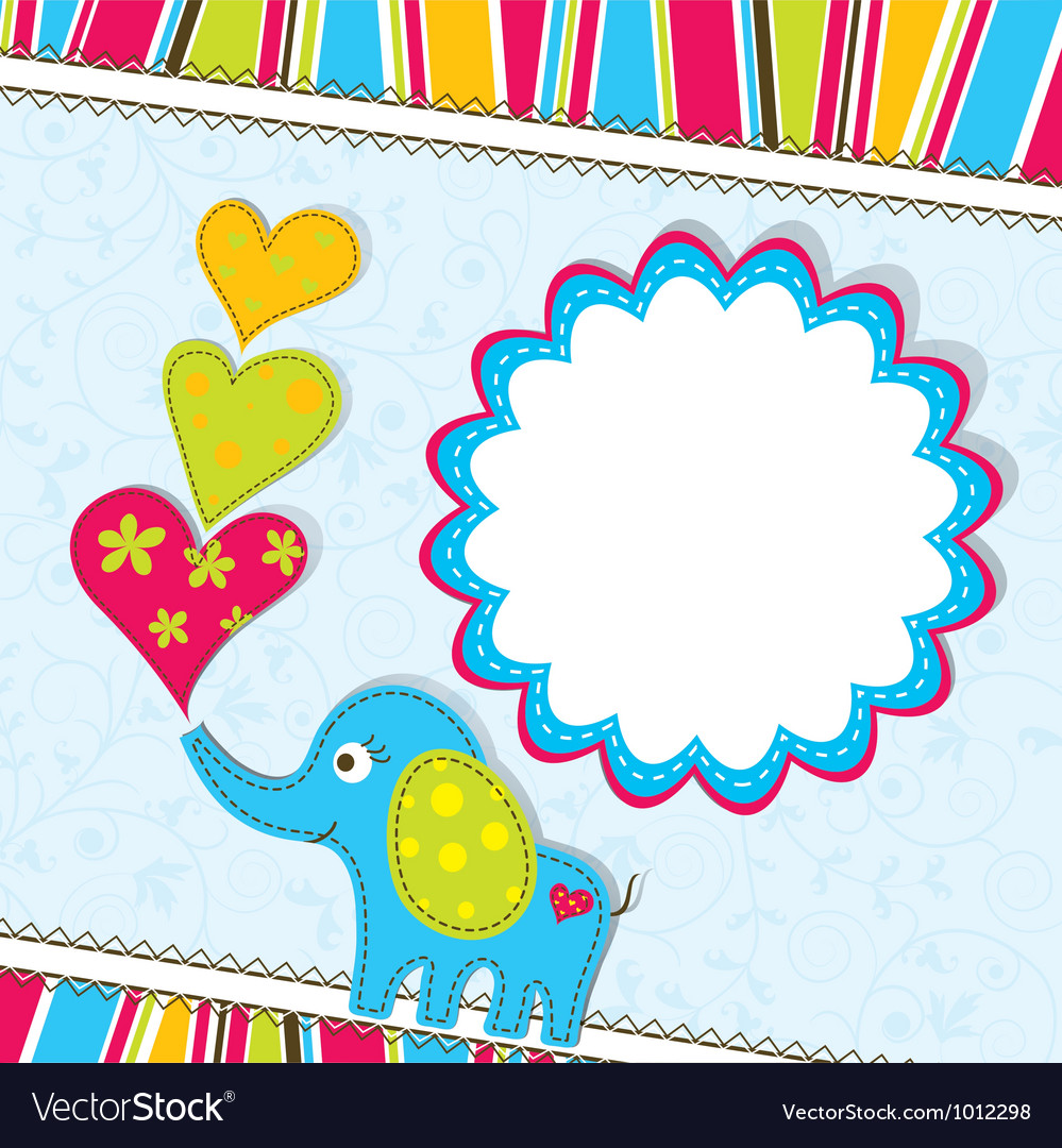 Scrapbook elephant card template vector | Price: 1 Credit (USD $1)