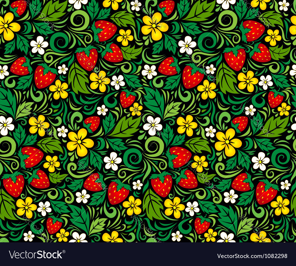 Strawberry pattern in traditional russian style vector | Price: 1 Credit (USD $1)