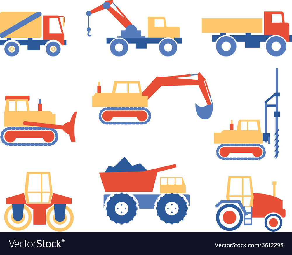 Various trucks and construction machinery graphics vector | Price: 1 Credit (USD $1)