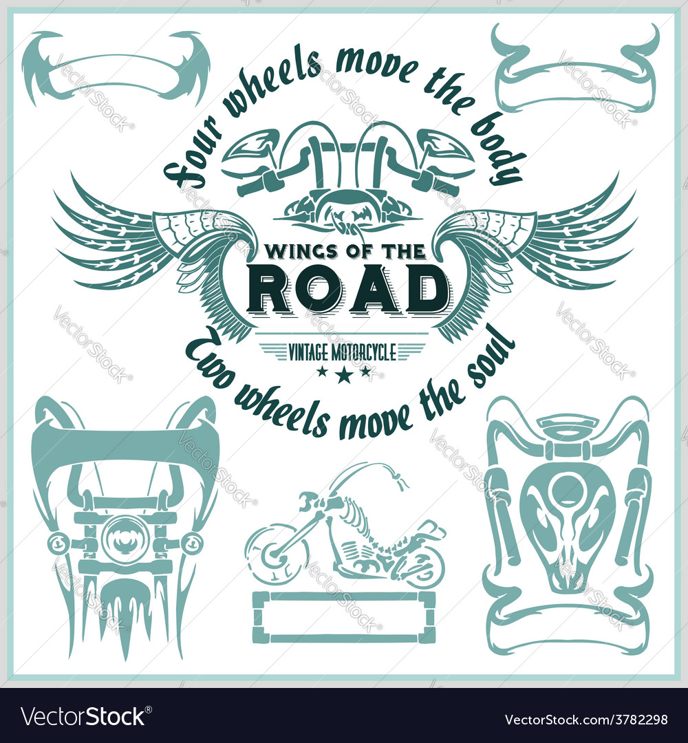 Vintage motorcycle labels badges and design vector   Price: 1 Credit (USD $1)