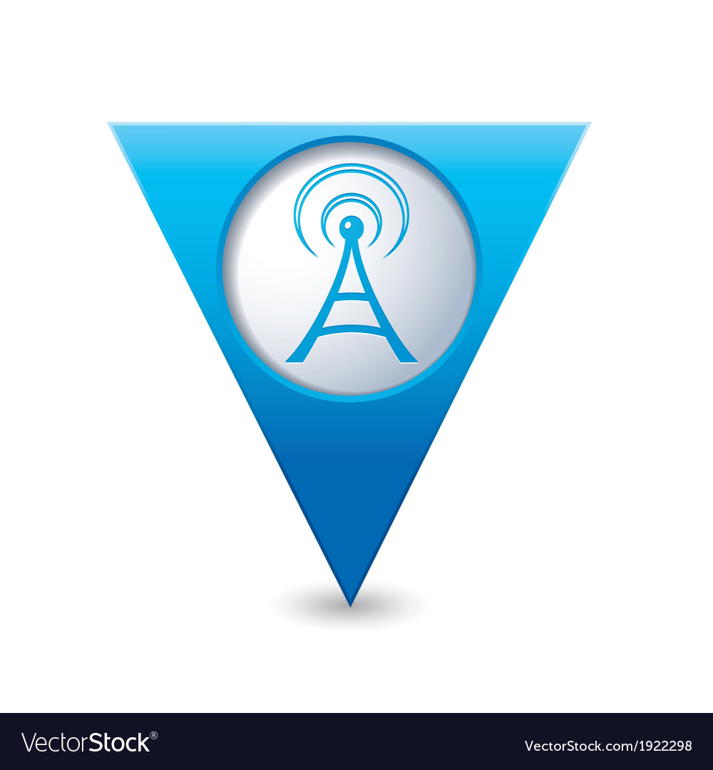 Wi fi icon map pointer blue vector | Price: 1 Credit (USD $1)