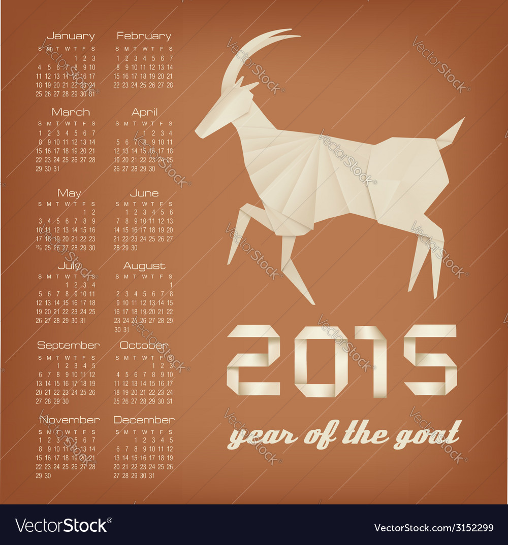 2015 year of the goat calendar vector | Price: 1 Credit (USD $1)