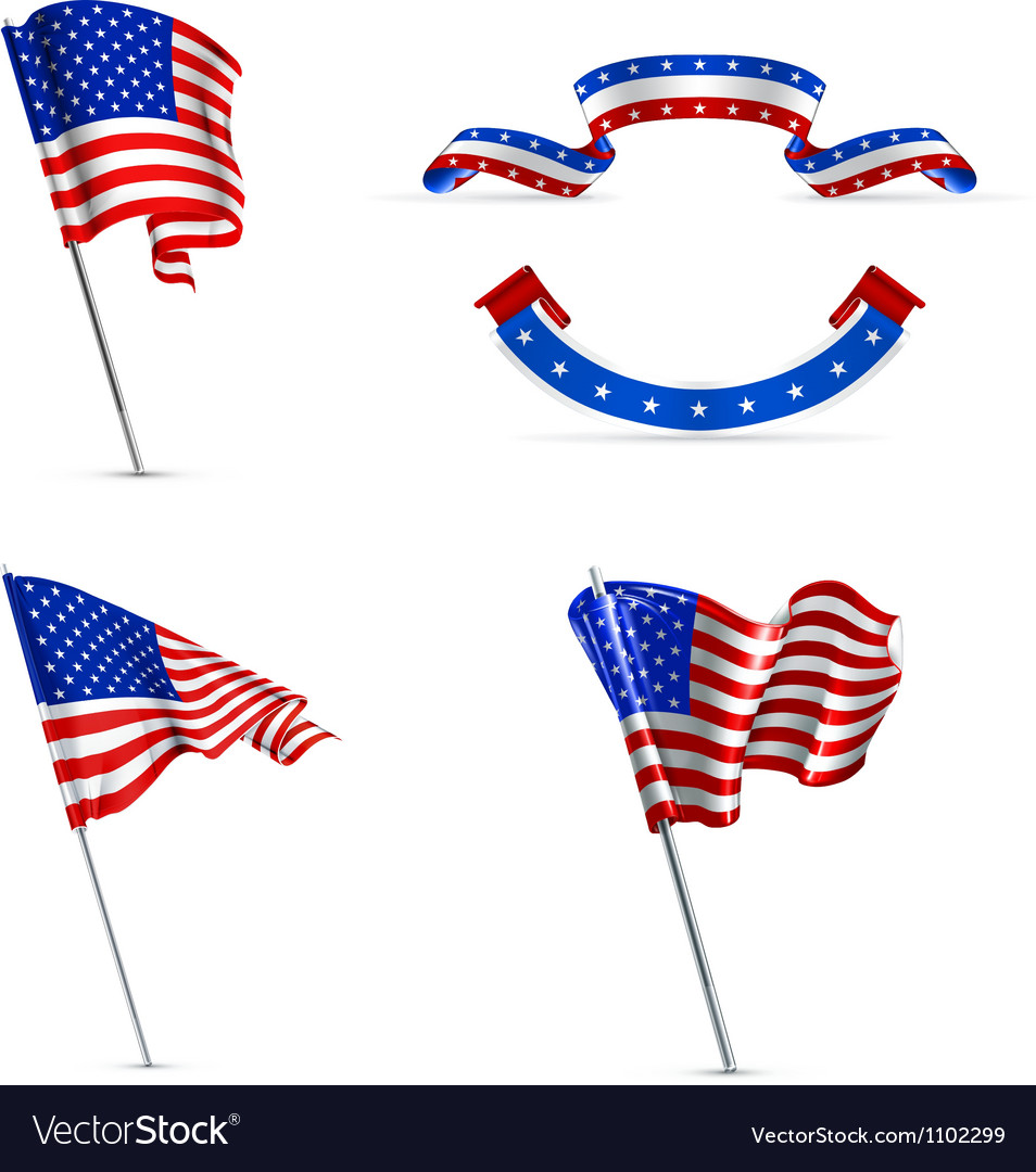American flags set vector | Price: 1 Credit (USD $1)