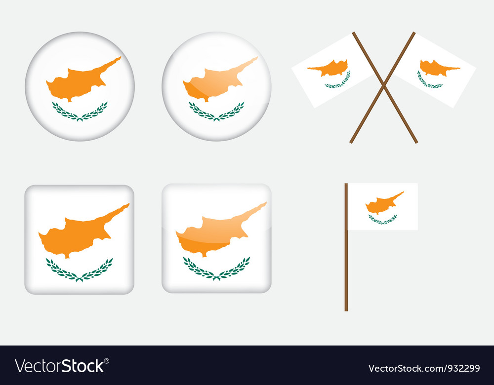 Badges with flag of cyprus vector | Price: 1 Credit (USD $1)