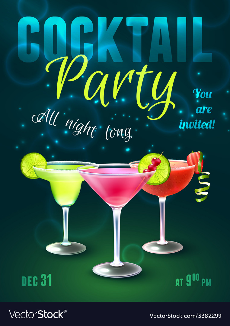 Cocktail party poster vector | Price: 1 Credit (USD $1)