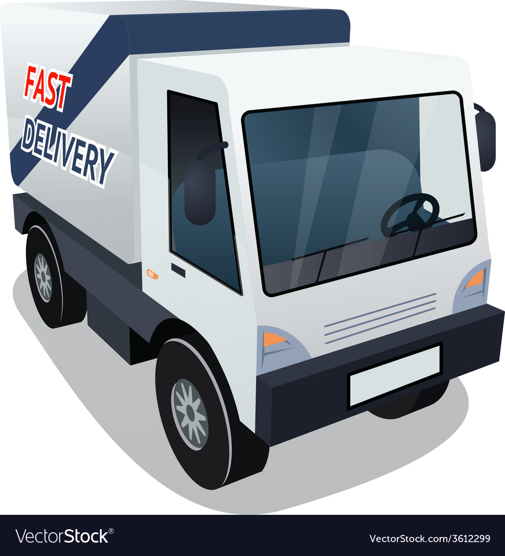 Delivery cargo truck graphic on white background vector | Price: 1 Credit (USD $1)